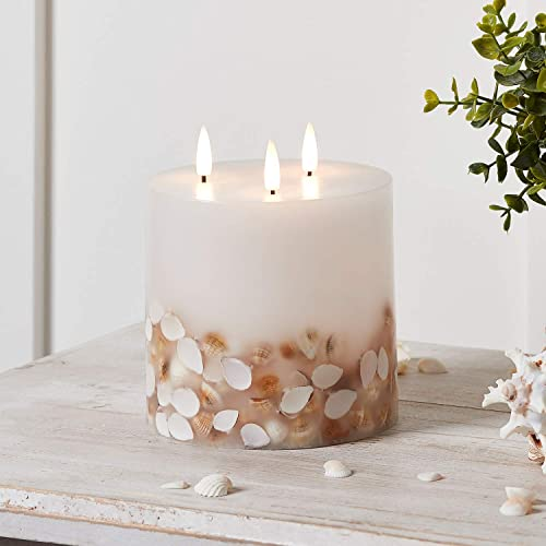 Lights4fun, Inc. TruGlow Seashell 3 Wick Ivory Wax Flameless LED Battery Operated Pillar Candle with Remote Control