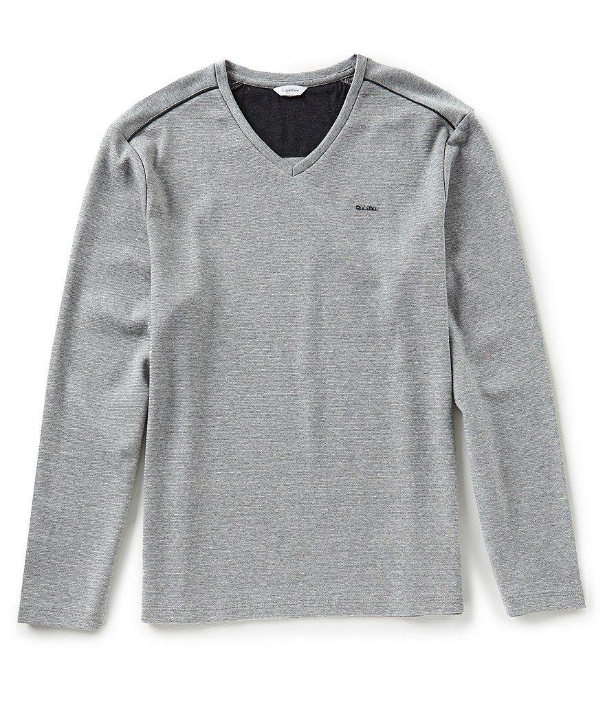 Calvin Klein Men's Solid V-Neck Long-Sleeve Sweatshirt (Medium, Wolf Grey Heather)