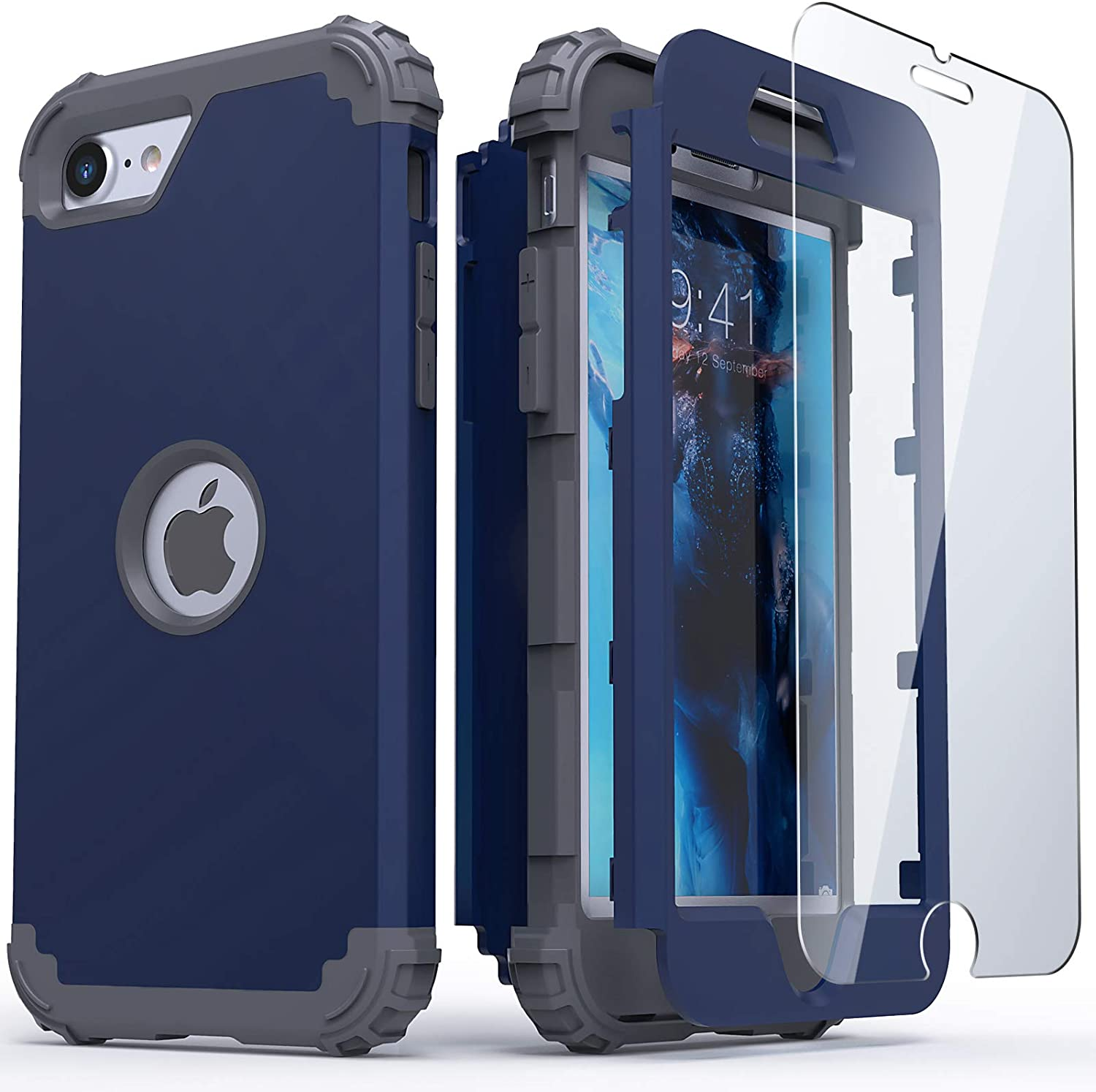 IDweel iPhone SE 2020 Case with Tempered Glass Screen Protector, Hybrid 3 in 1 Shockproof Slim Heavy Duty Hard PC Cover Soft Silicone Rugged Bumper Full Body Case for iPhone SE 2nd Generation, Blue