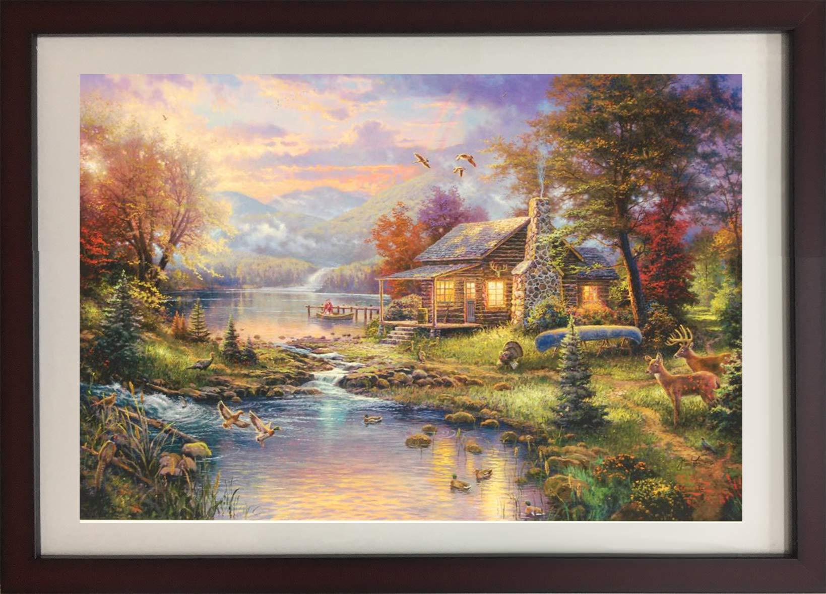 ''Mountain Retreat III'' Original Thomas Kinkade Lithograph Fine Art Landscape Decorative by