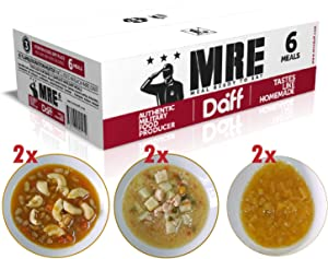 MRE Meals Military Style by DAFF. Full Day Box 2 (2 Peach breakfast, 2 Pasta meal, 2 Salmon Stew meal) (6 Single meals). Full MRE Ideal for Camping, Survival and as Emergency Food. [1000 Calories/Bag]