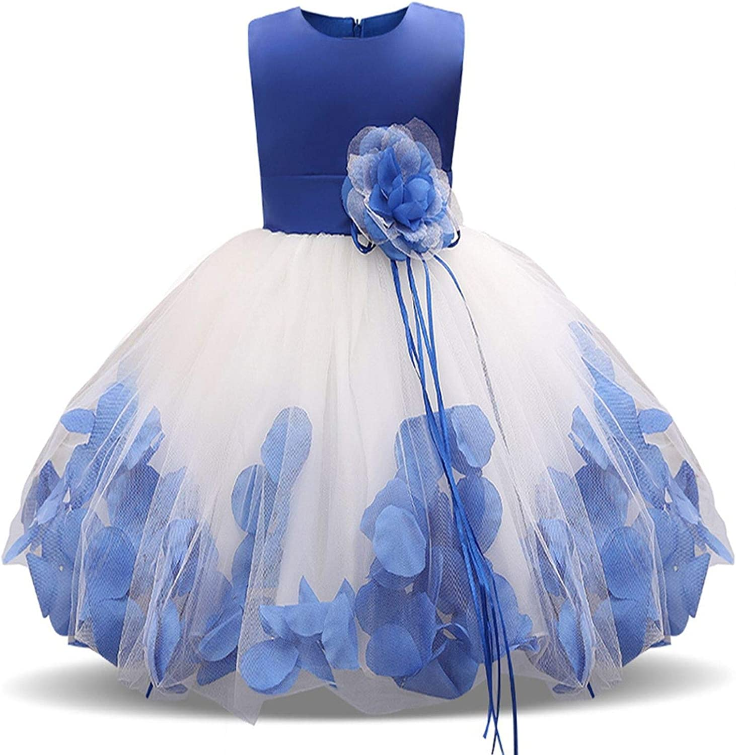 Bluecandy 4-10 Years Girl Summer Dress Kids Clothes Flower Girls Dress for Wedding Events Party Ball Gown Children Clothing