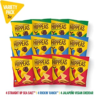 New HIPPEAS Organic Chickpea Snacks Variety Pack Tortilla Chips | 2 ounce, 12 count | Vegan, Gluten-Free, Crunchy, Protein Chips
