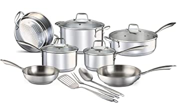 Chefs Star 14 Piece Stainless Steel Pots and Pans Set Professional Grade Kitchen Induction Cookware + Oven and Freezer Safe + Impact-Bonded ...