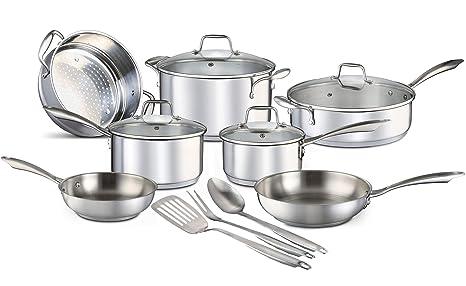 Chefs Star Juego de ollas y sartenes - juego de utensilios de cocina 14 piezas Acero