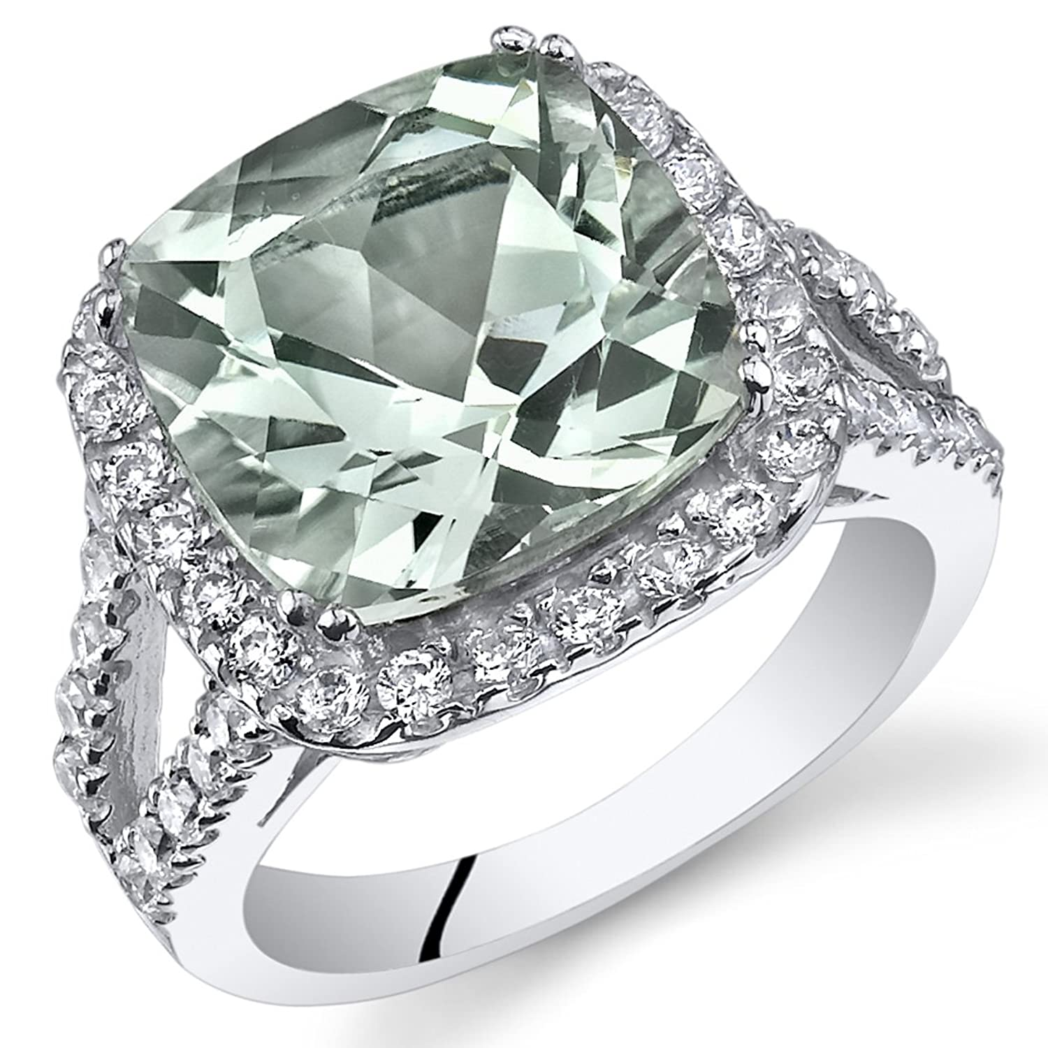 4.75 Carats Cushion Cut Green Amethyst Ring Sterling Silver Sizes 5 to 9