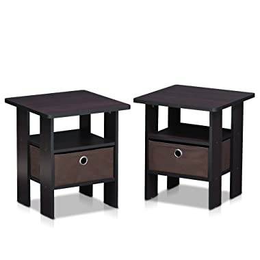 Furinno 2-11157DWN Petite End Table Bedroom Night Stand, 2, Dark Walnut