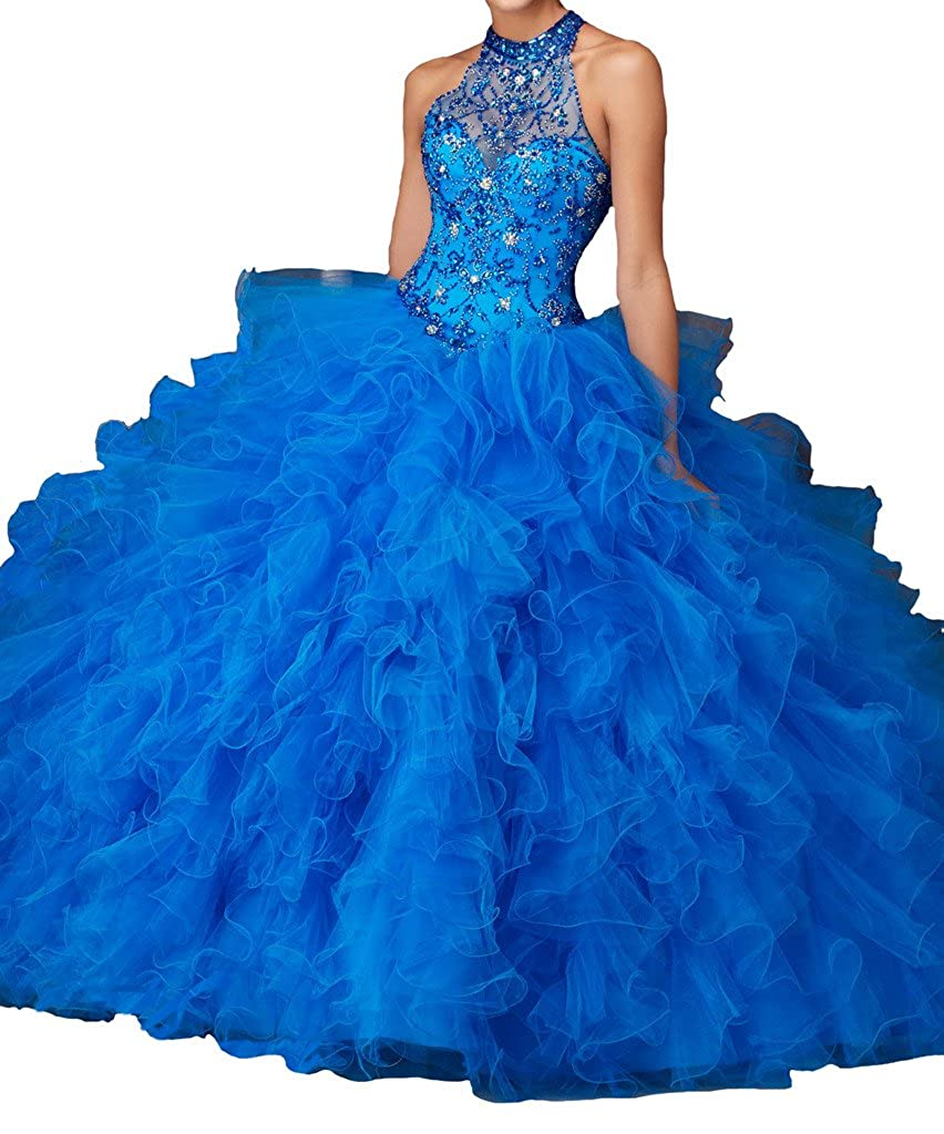 4b408a3d9f Dengfeng Women s Beads Crystal Sweet 15 Girls Evening Party Quinceanera  Dresses at Amazon Women s Clothing store