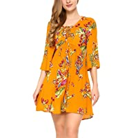 Mixfeer Womens Bohemian Loose Vintage Floral Print Midi Dress