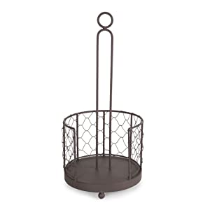 DII Z02231 Vintage Metal Chicken Wire Paper Towel Holder Stand for Kitchen and Pantry Rustic