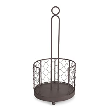 DII Z02231 Vintage Metal Chicken Wire Paper Towel Holder Stand for Kitchen and Pantry, Rustic