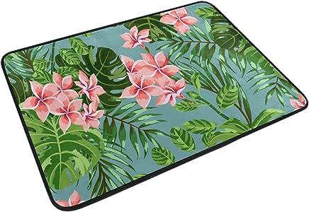 Tropical Floral Print Home Decor Non-slip Doormat Floor Door Mat Indoor Outdoor Bathroom Mat 23.6 x 15.7 inch