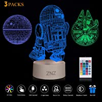 3D LED Star Wars Night Light, ZNZ Illusion Lamp Death Star + R2-D2 + Millennium Falcon, Three Pattern and 16 Color Change Decor Lamp - Perfect Gifts for Kids and Star Wars Fans, 3 Packs