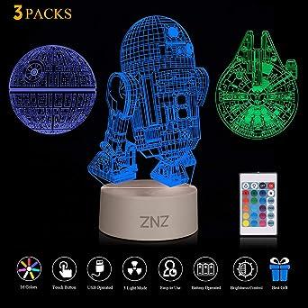 3d Led Star Wars Nachtlicht Znz Illusion Lampe Todesstern R2 D2