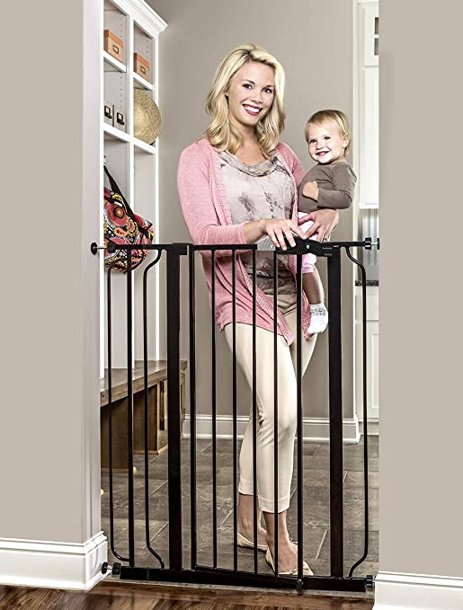 Amazon.com : Regalo Easy Step Extra Tall Walk Thru Baby Gate, Bonus Kit, Includes 4-Inch Extension Kit, 4 Pack of Pressure Mount Kit and 4 Pack of Wall Cups and Mounting Kit, Black : Indoor Safety Gates : Pet Supplies