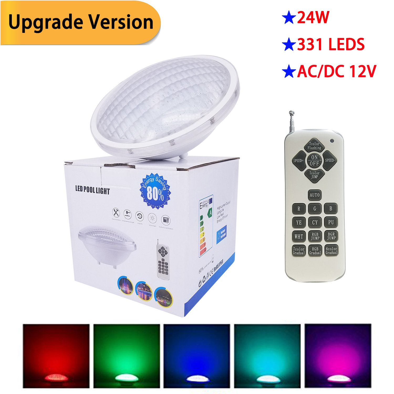 Green_House Lampe de piscine 24W LED Couleurs Variées RGB, Submersible et Réglable, LED Lampe Etanche IP68, contrôle par télécommande, 12V AC/DC, 12 Modes Disponibles [Classe énergétique A+] Green_House_Fac