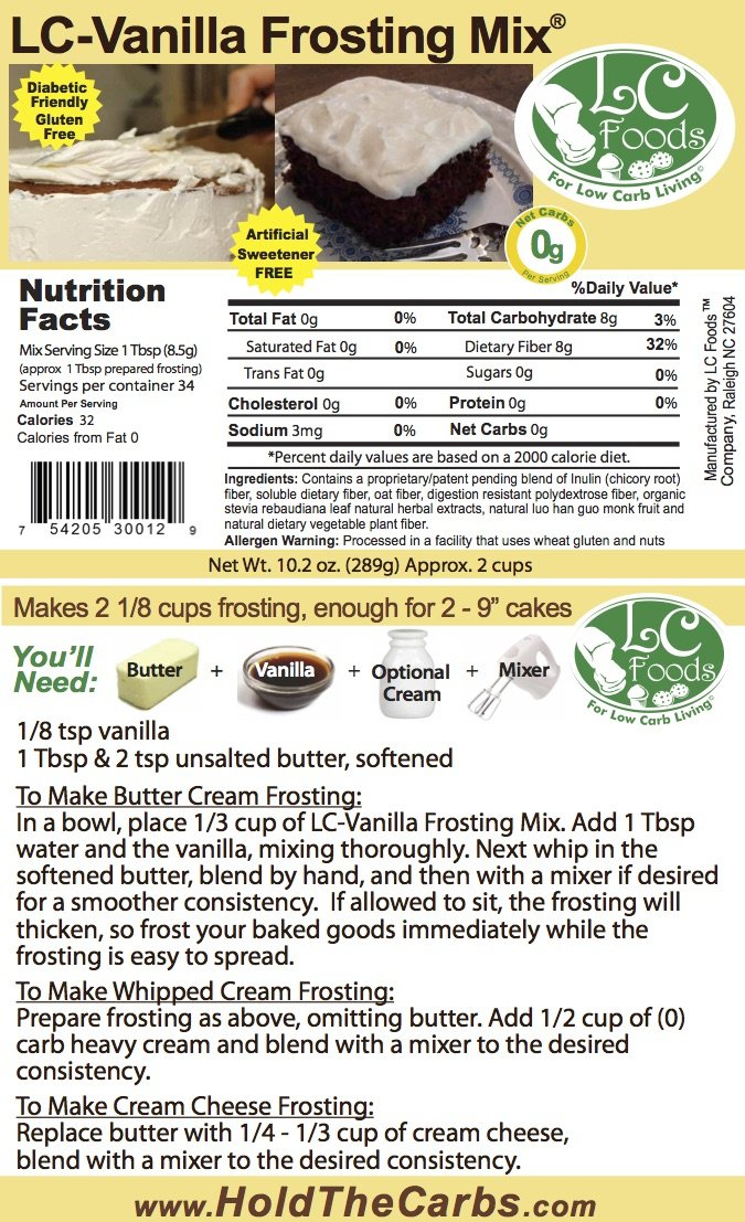 Low Carb Vanilla Frosting Mix - LC Foods - All Natural - Gluten Free - No Sugar - Diabetic Friendly - 10.2 oz