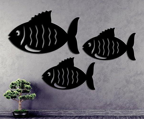Amazon.com: Fish Metal Wall Art Fence/Sculpture Folk Art - Set of 3 ...
