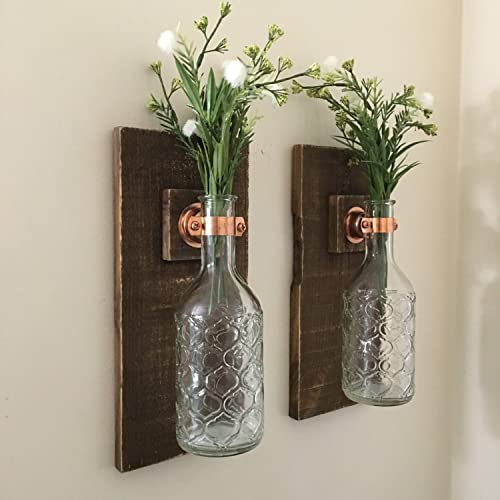 Wall Sconce (SET OF TWO) Hanging Flower Vases, Rustic Wall Decor, Wall