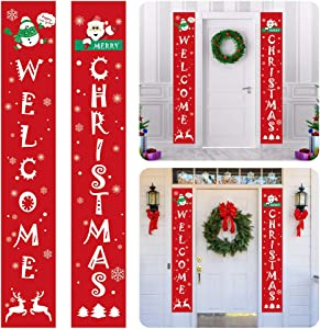 Christmas Porch Signs, Merry Christmas Decorations Banners Porch Sign, Xmas Decor Hanging Banners for Home Wall Door Living Room Kitchen Wall Party Indoor Outdoor