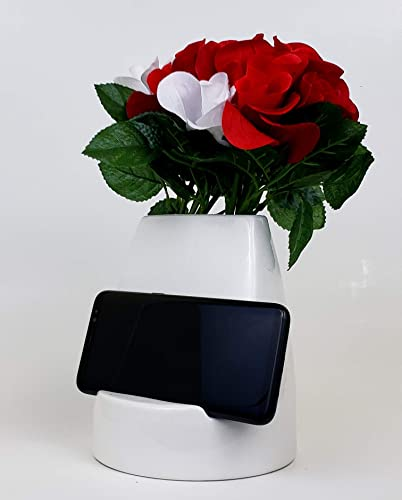 kameelion Unique Ceramic Smartphone Tablet Flower Vase, Ideal Gift and Design for Home and Office