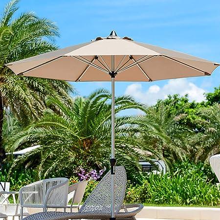 Parasol LZPQ Sombrilla Patio Terraza Jardin Diametro 2,7m Altura con Manivela, Doble Tapa Transpirable, Engrosada.para Playa Carpas Toldos De Terraza Tela De PoliéSter ProteccióN Solar UV: Amazon.es: Hogar