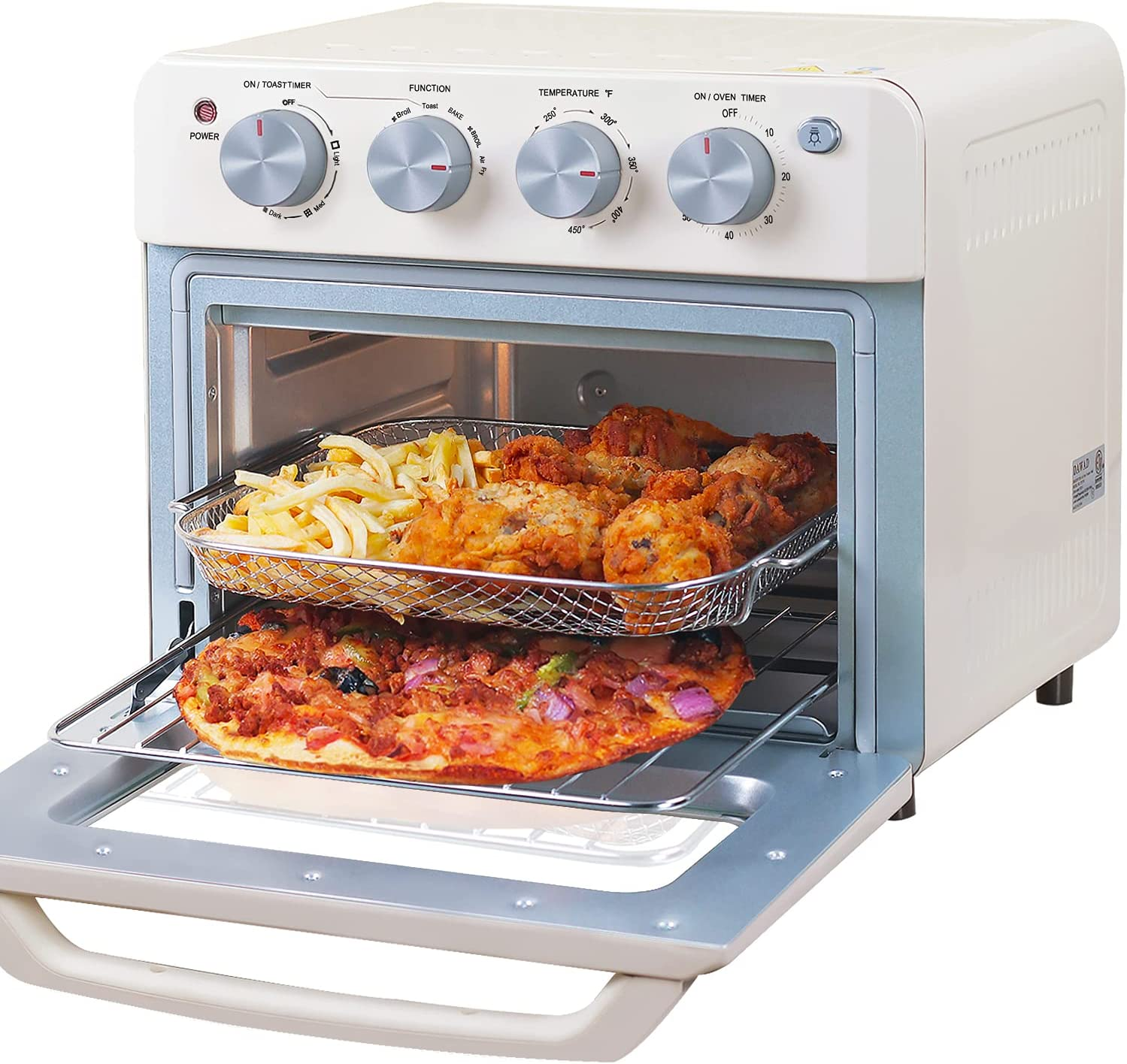 DAWAD Convection Toaster Oven Air Fryer Countertop, Compact Small Baking Oven With Air Fry, Bake, Broil, Toast, Warm, 19QT With 4 Accessories, 33 Original Recipes, 1550W, Cream White