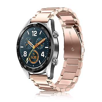 Fintie Correa para Huawei Watch GT Sport/Fashion/Active - 22mm Pulsera de Repuesto de Acero Inoxidable Banda Ajustable de Metal [Liberación Rápida],