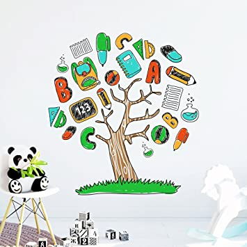 DecalMile Alphabet ABC Tree Wall Decals Kids Wall Stickers Peel and Stick Removable Vinyl Wall Art  sc 1 st  Amazon.com & Amazon.com: DecalMile Alphabet ABC Tree Wall Decals Kids Wall ...
