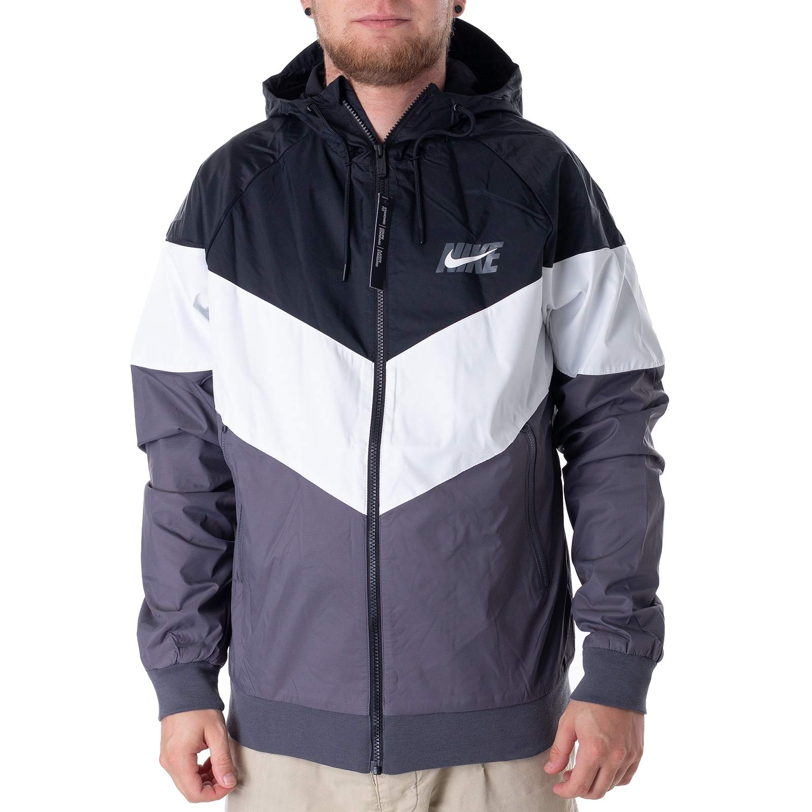 Nike Mens HD GX Windrunner Hooded Track Jacket Black/Summit White/Dark Grey AJ1396-010 Size Small by Nike (Image #1)