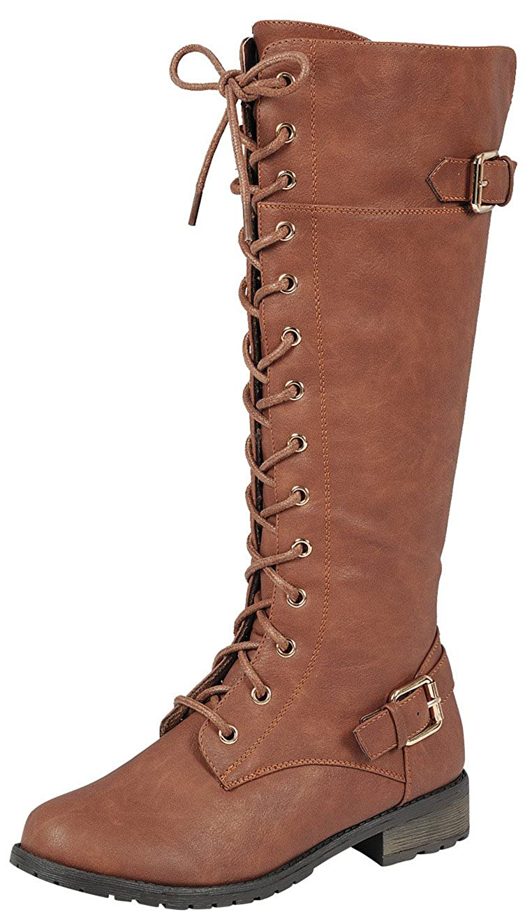 Forever Link Women's Strappy Lace-up Knee High Combat Stacked Heel Boot