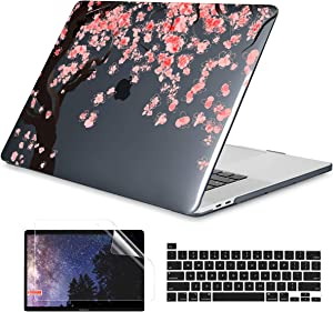 Dongke MacBook Pro 16 inch Case Model A2141 (2019 2020 Released), Plastic Hard Shell Case Cover Only Compatible with MacBook Pro 16 inch with Retina Display & Touch Bar Fits Touch ID, Cherry Blossoms