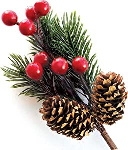 Red Berry Stems Pine Branches Evergreen Berries Décor 8 PCS Artificial Pine Cones Branch for Christmas Craft Wreath Pick & Winter Holiday Floral Picks Holly Stem for Decoration DIY Xmas Crafts