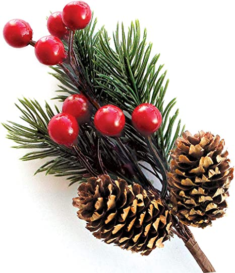 Red Berry Stems Pine Branches Evergreen Berries Décor 8 Pcs Artificial Pine Cones Branch For Christmas Craft Wreath Pick Winter Holiday Floral Picks Holly Stem For Decoration Diy Xmas Crafts Amazon Ca