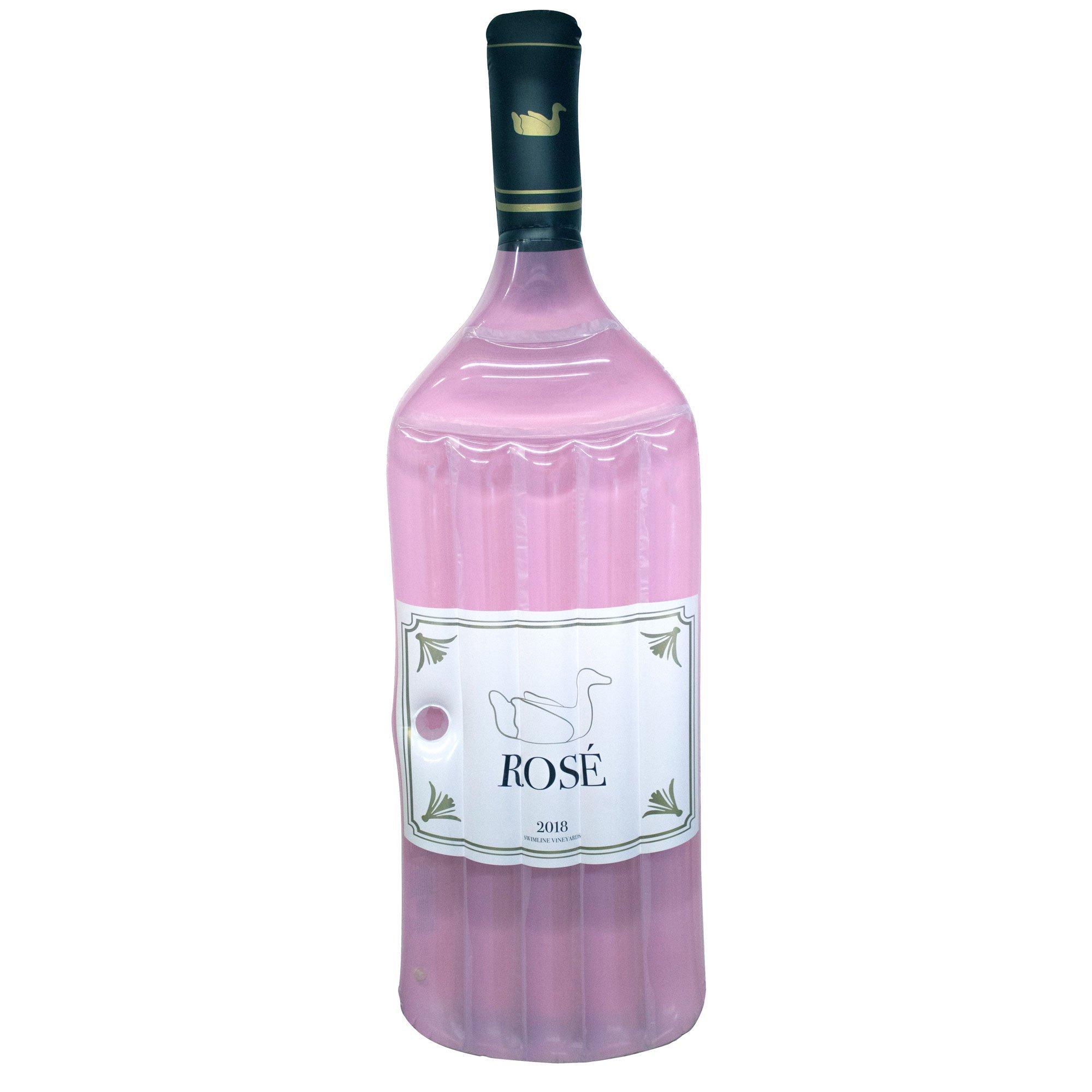 Swimline 90654 Inflatable Rose Wine Bottle Pool Float, One Size, Pink by Swimline