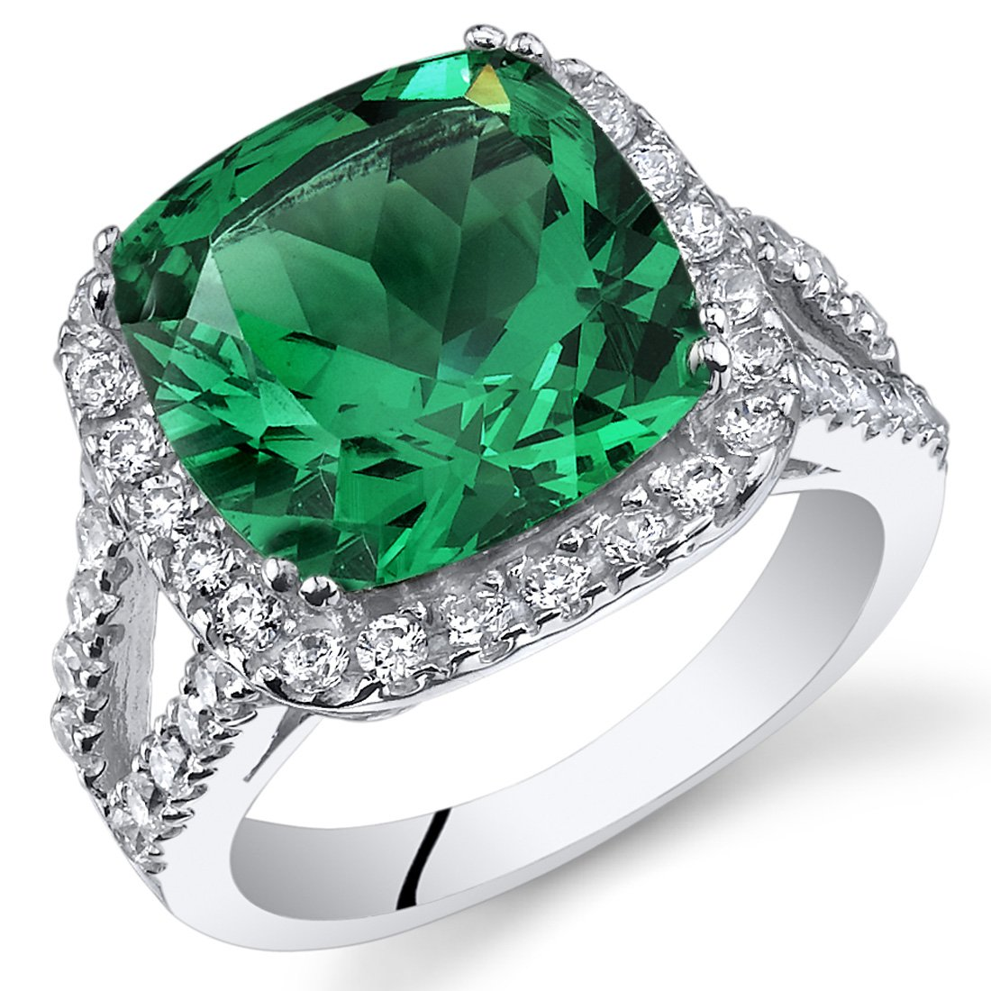 6.50 Carats Cushion Cut Simulated Emerald Ring Sterling Silver Size 7
