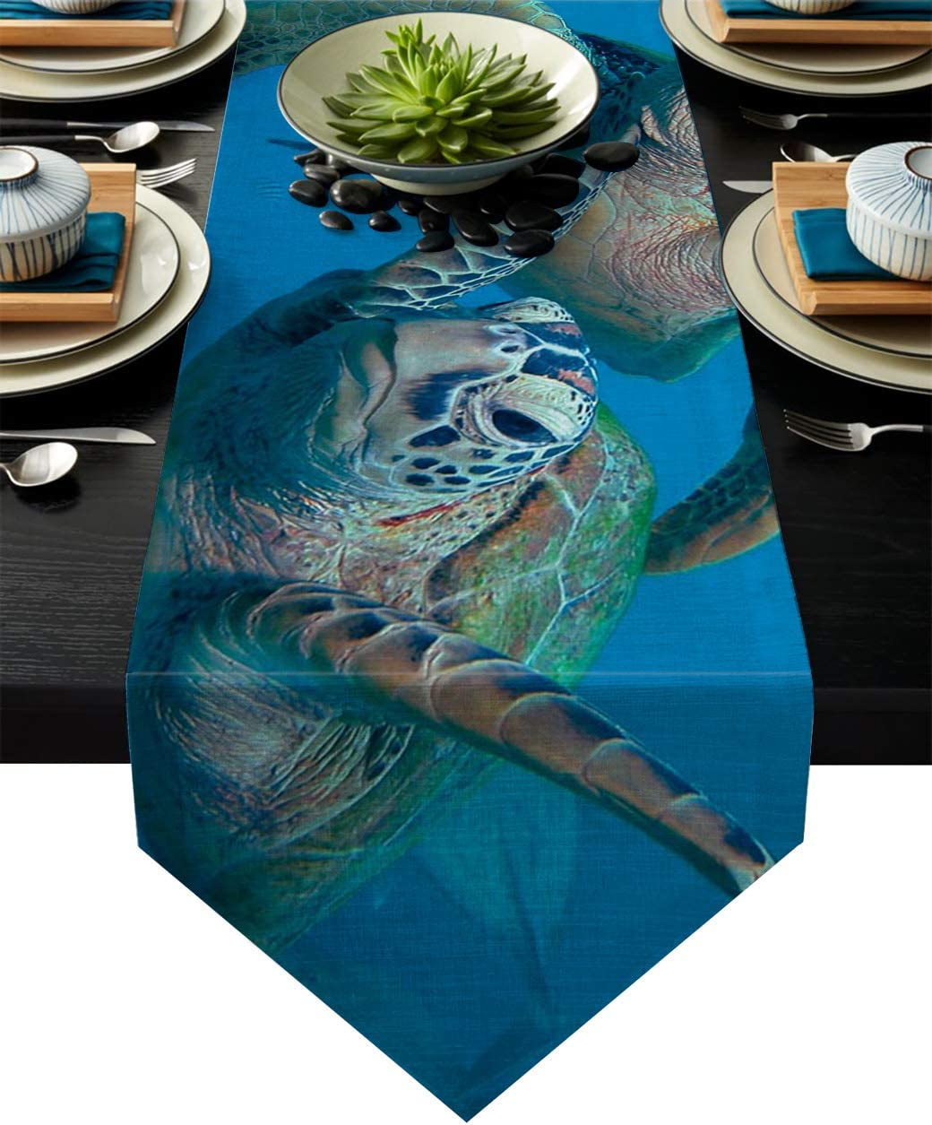 Blue Cotton Linen Table Runner Ocean Animal Sea Turtle 13x70 Inch Burlap Table Runners for Party Wedding Dining Farmhouse Outdoor Picnics Table Top Decor