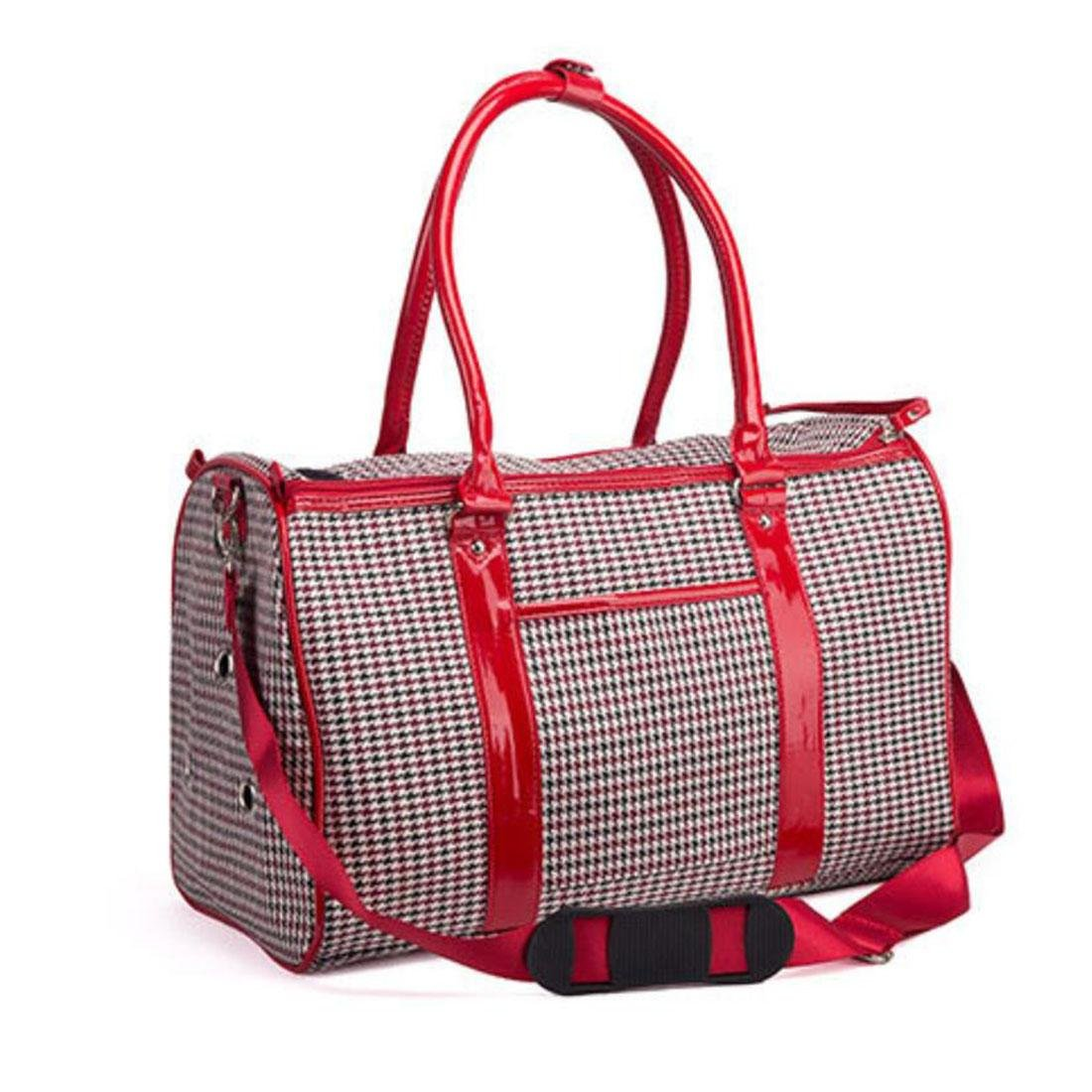 Red WYXIN Pet Cat Small Dog Travel Carrier Bag Pu Leather Outdoor Foldable Portable Dog Carrying Tote Bag Handbag 40cm  26cm  20cm , Red