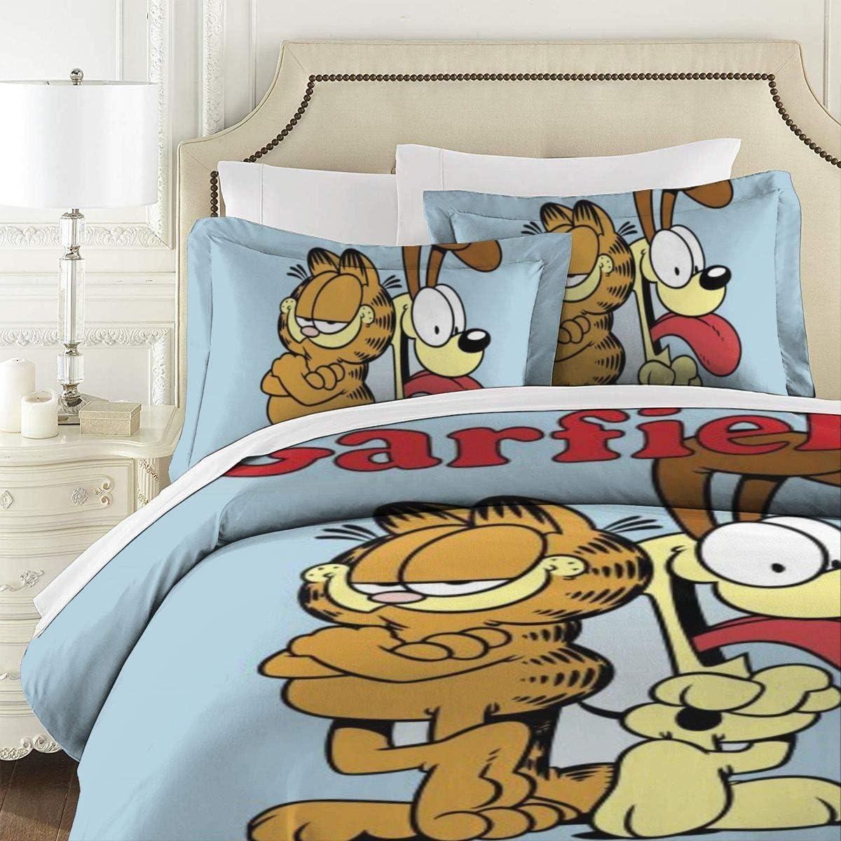 Amazon Com Nvsdt Garfield 3 Piece Kids Bed Set Bedding Printed Comforter Set With 2 Pillow Shams Zipper Closure Super Soft Microfiber Bed Set 86 X70 Home Kitchen