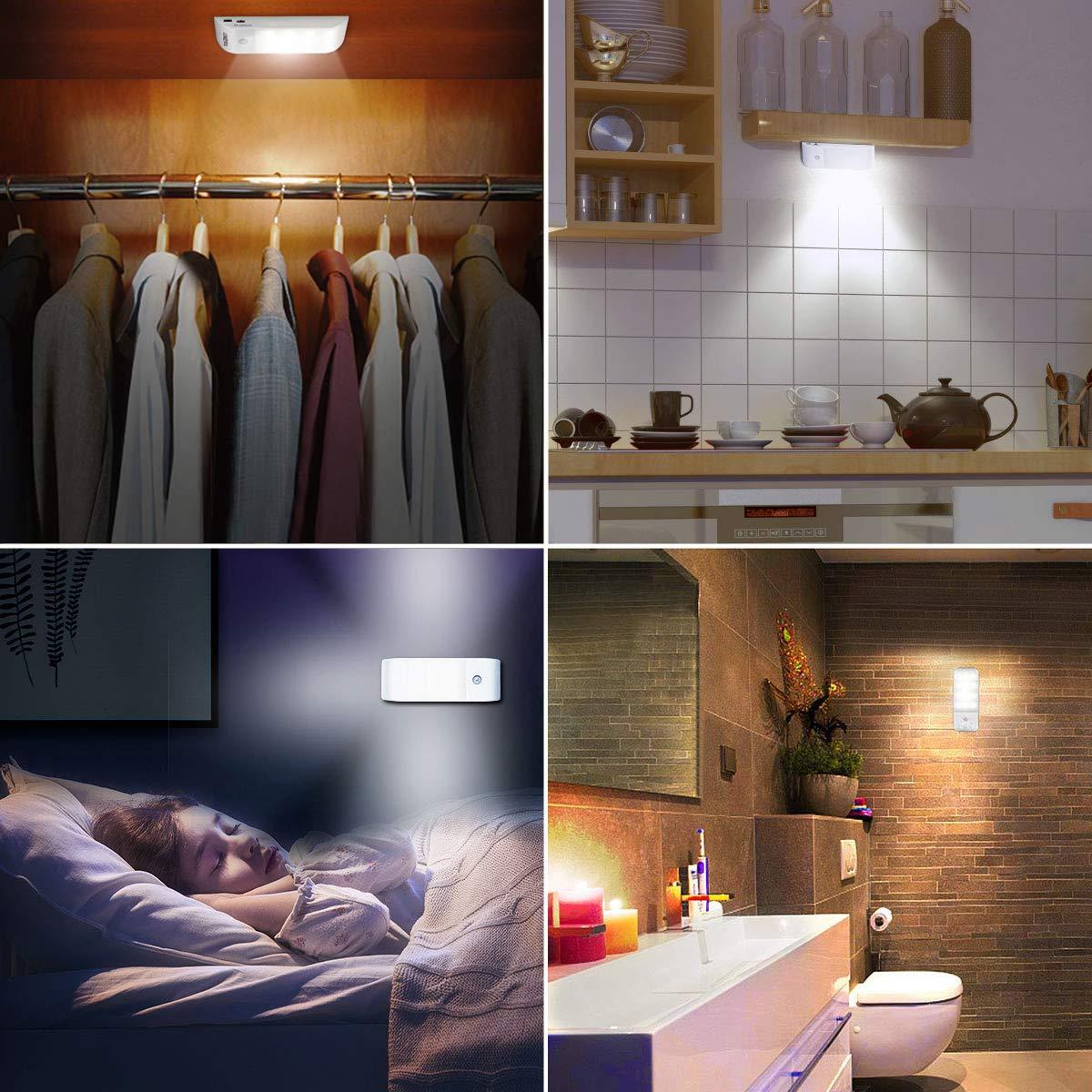 Garage 3 modalit/à di Luce per Armadio 2 Pezzi VIDEN Luce Notte LED Corridoi Ricaricabile Lampada Armadio USB Scale Cucina Luce LED Sensore di Movimento con Striscia Magnetica Adesiva
