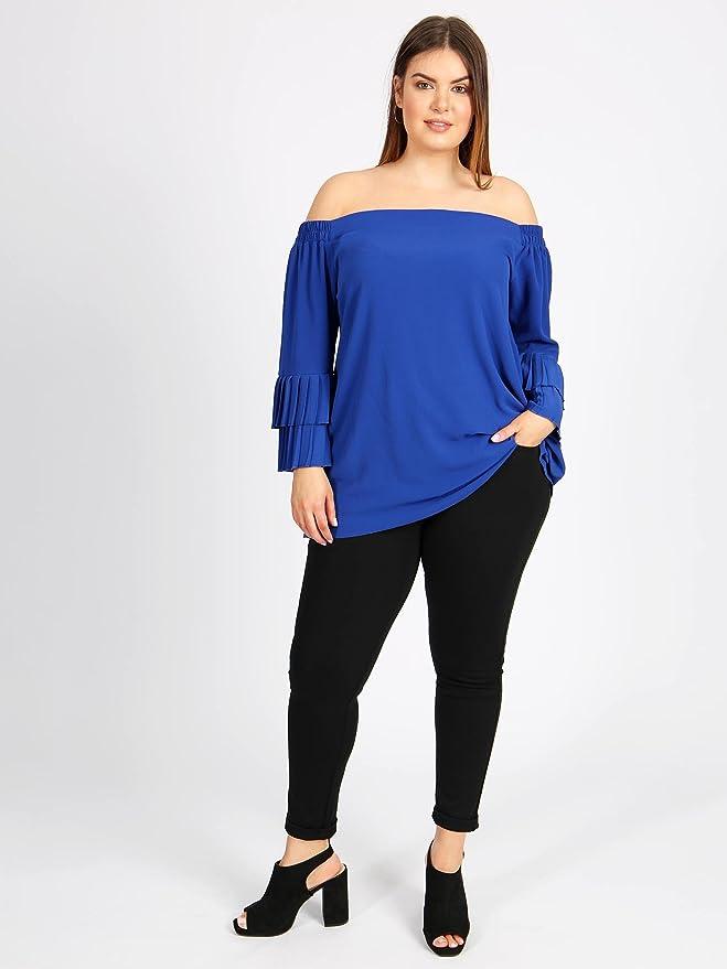 721eba16580dd Lovedrobe GB Women s Plus Size Cobalt Blue Double Pleated Sleeve Off  Shoulder Bardot Top  Amazon.co.uk  Clothing