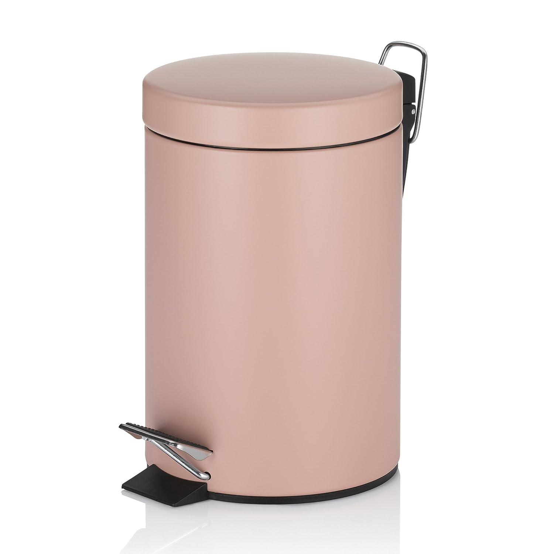 Salle De Bain Rose Poudre ~ kela 20525 poubelle de salle bain p dale 3 litres m tal mat rose
