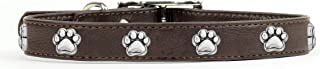 product image for Rockin Doggie Paw Rivets Leather Dog Collar, 1 by 16-Inch, Brown
