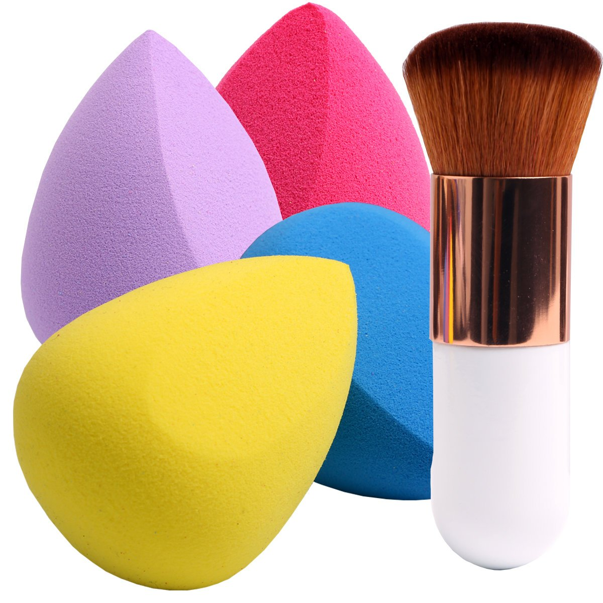 BEAKEY 4+1Pcs Makeup Sponges Set Blender Beauty with Blush Brush, Foundation Blending Sponge,Flawless for Liquid, Creams and Powders,Powder Puffs & Kabuki Brushes