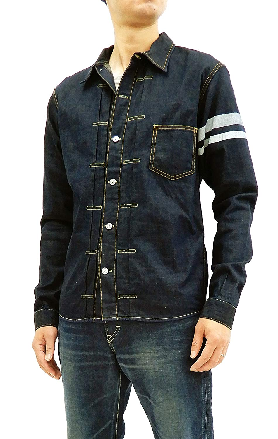 2373c8d7b4b Momotaro Jeans 05-197 Men s Slim fit Indigo Denim Shirt Long Sleeve type1  GTB Japan 42 (US L UK 40) at Amazon Men s Clothing store