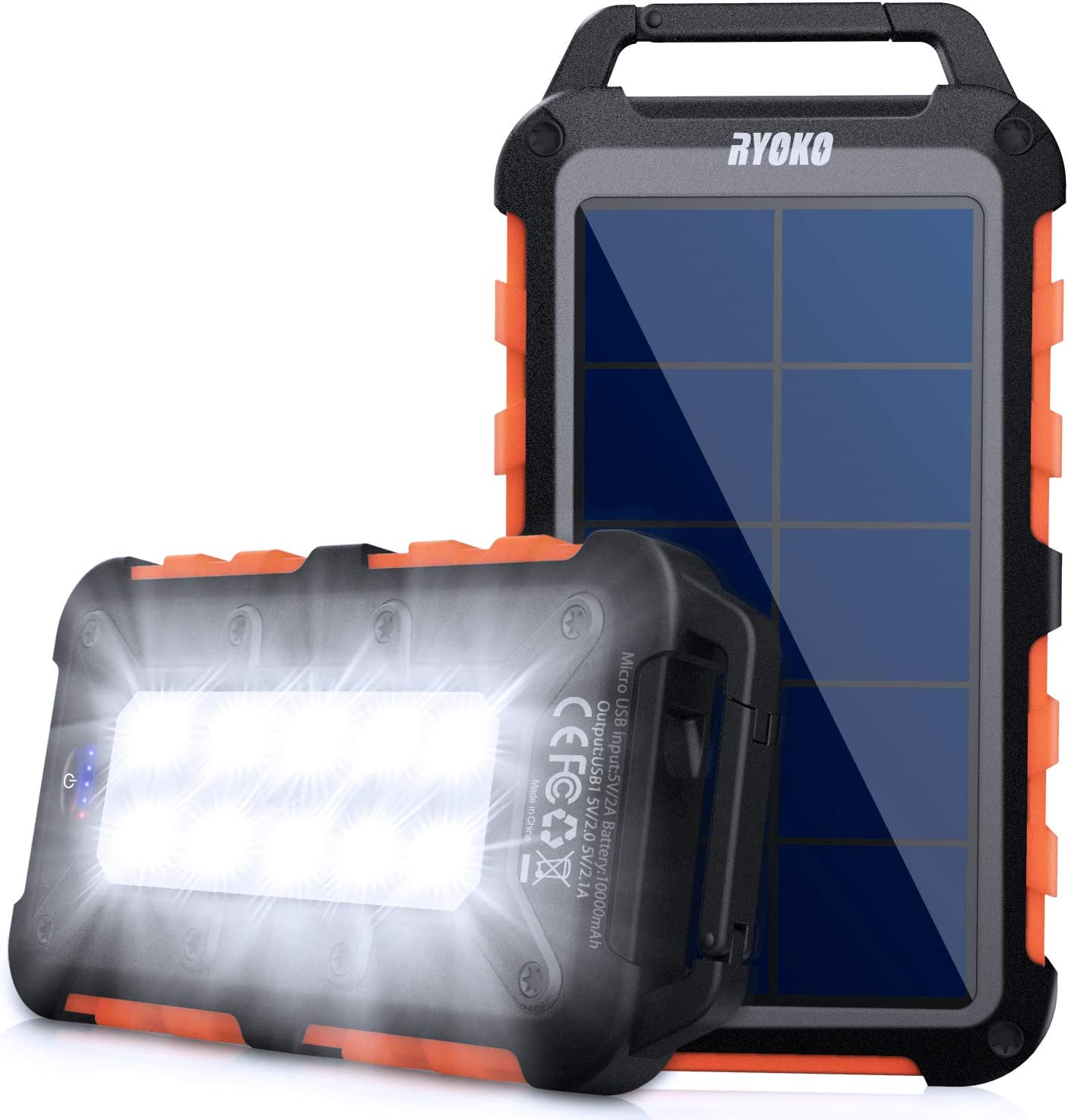 Solar Power Bank 10000mah, Ryoko Portable Solar Charger Ipx4 Waterproof Phone External Battery for Hiking Camping Backpacking, Dual Fast Charger for Cell Phone, LED Source of Dark Lifesaver (Orange)
