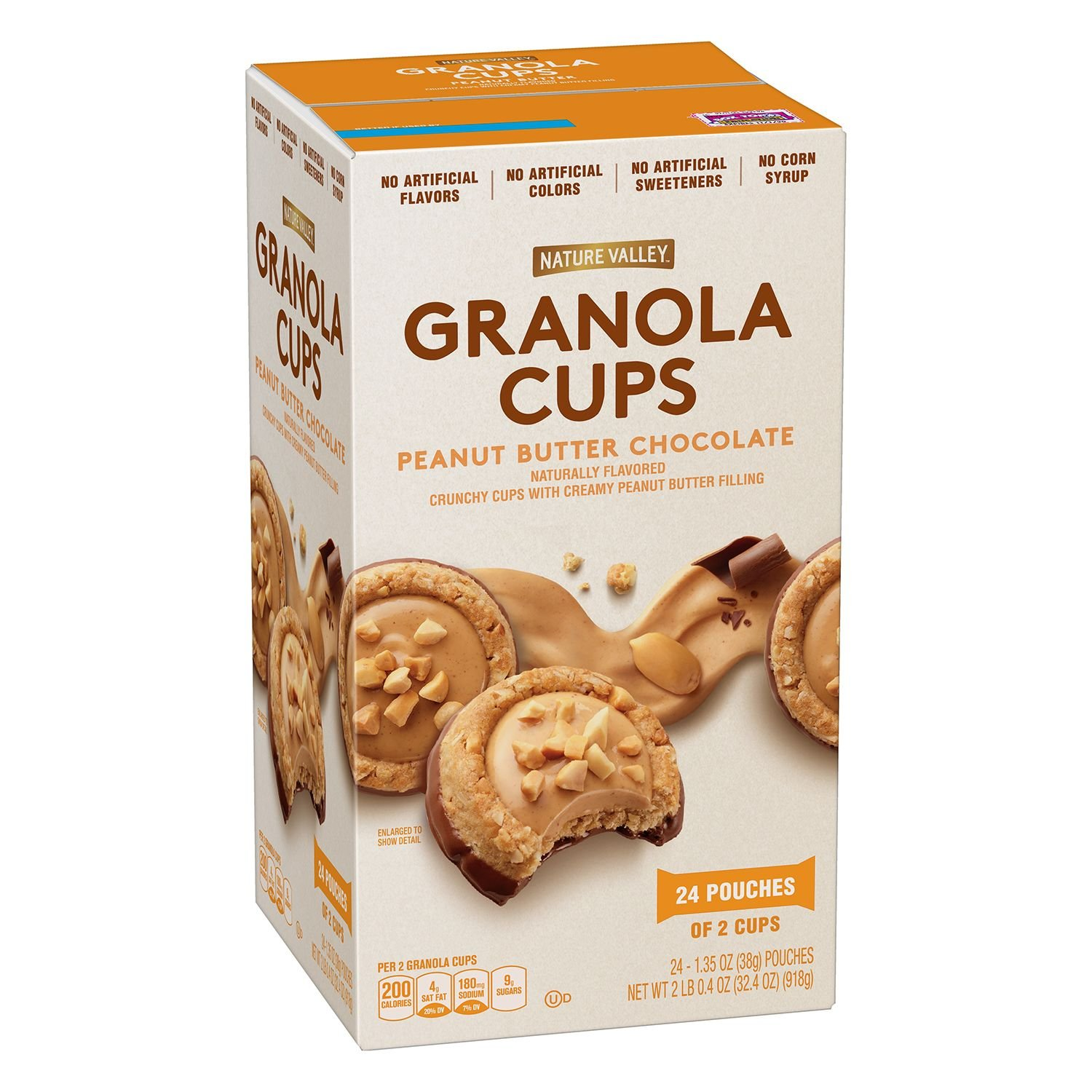 Nature Valley Granola Cups - Peanut Butter Chocolate Net wt 32.04 OZ (24 pouches of 2 cups)
