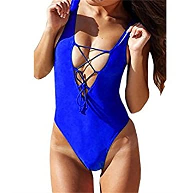 001871889abfe Mecule Women V Neck One Piece Swimsuits Sexy Cute Bathing Suits Lace-up U  Back
