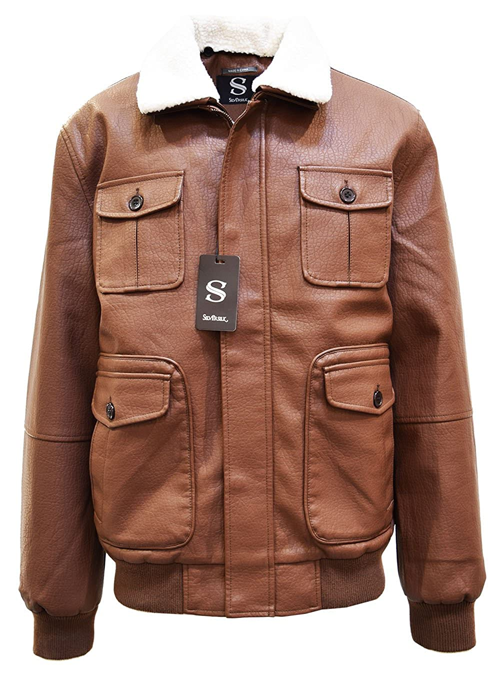 Men's Vintage Style Coats and Jackets BIg Tall SILVERSILK Mens PU Leather Bomber Jacket W/Sherpa Collar $69.00 AT vintagedancer.com