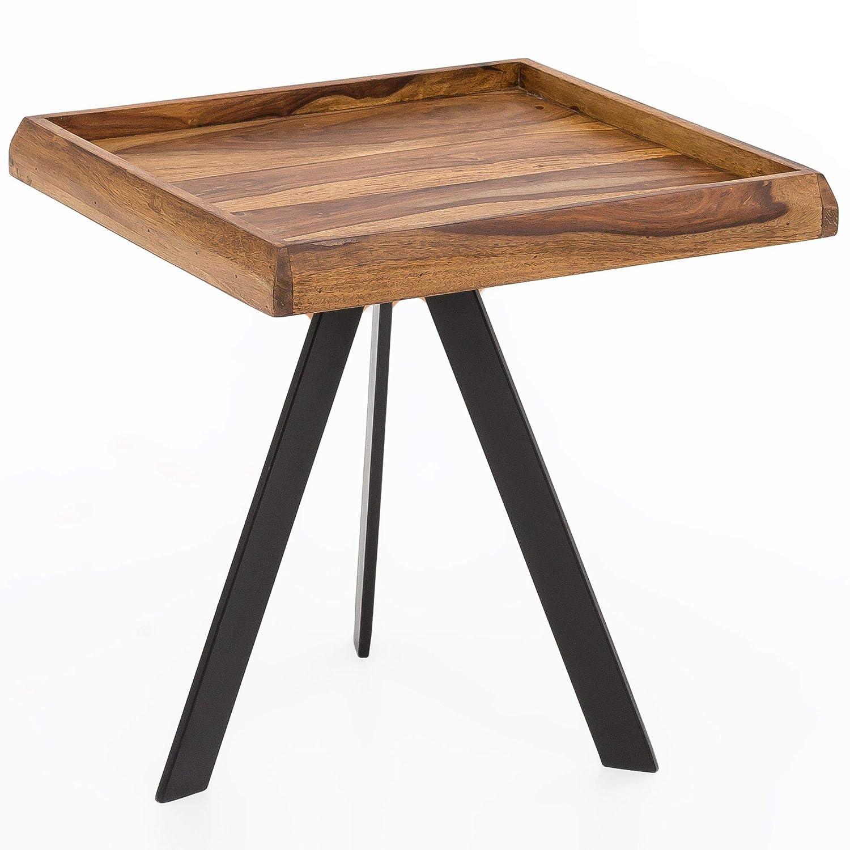 FineBuy Beistelltisch 45 x45 cm quadratisch Sheesham Massivholz mit Metall Gestell | Couchtisch | Wohnzimmertisch | Holztisch Wohnzimmer